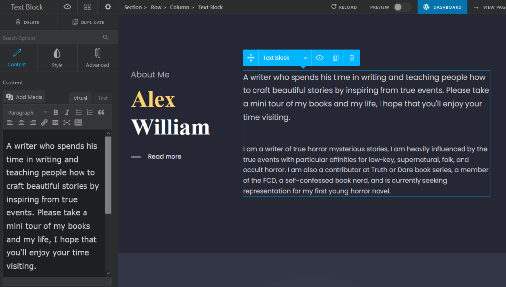 About Me Section- how to create a Portfolio Website -Oshine Creative WordPress Theme.png